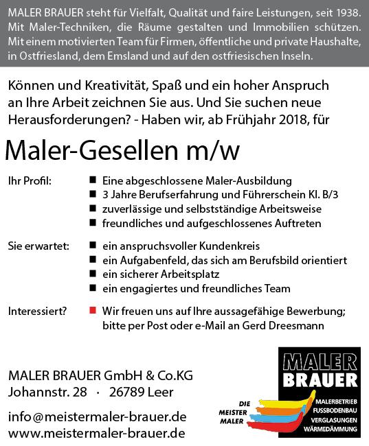Maler-Gesellen m/w gesucht ab Frühjahr 2018